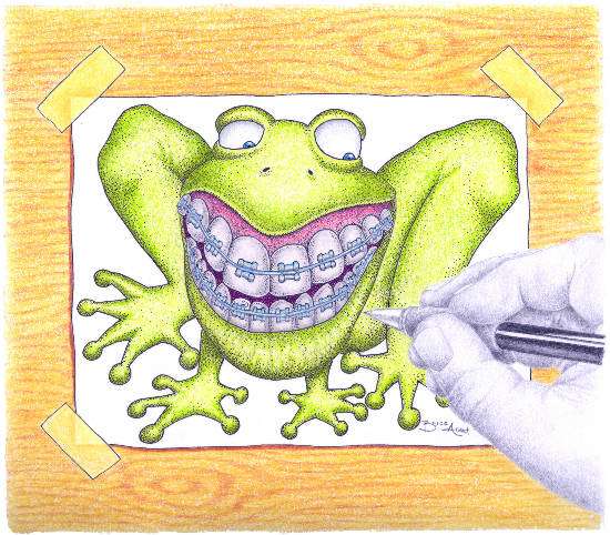 A hand drawing a frog with braces